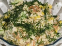 Krevečių salotos su ryžiais