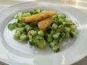 Džiūvėsėliuose kepta žuvis su daržovėmis