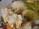 Troškinta žuvis su morkomis