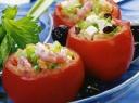 Įdaryti pomidorai su krevetėmis