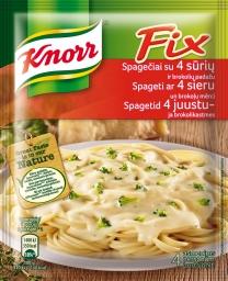 Knorr FIX ruošinys spagečiams su 4 sūrių ir brokolių padažu