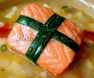 Porų ir lašišos sriuba