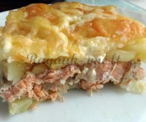 Bulvių apkepas su lašiša