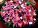 Arbūzų salotos su alyvuogėmis